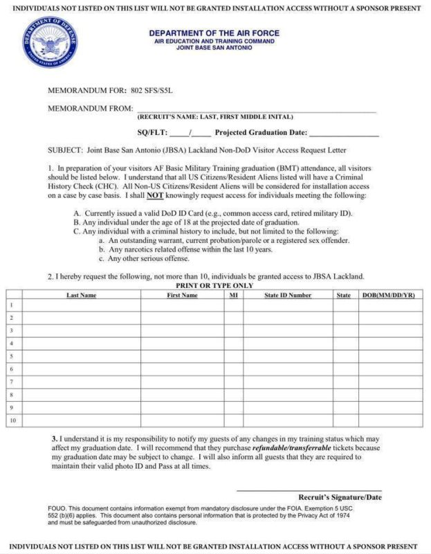 af leave request form  Visitor Access to Lackland AFB | AF WingMoms